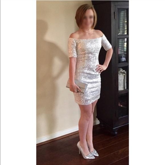 9ea4d8de6 B Darlin Dresses | White Sequin Off Shoulder Prom Dress | Poshmark